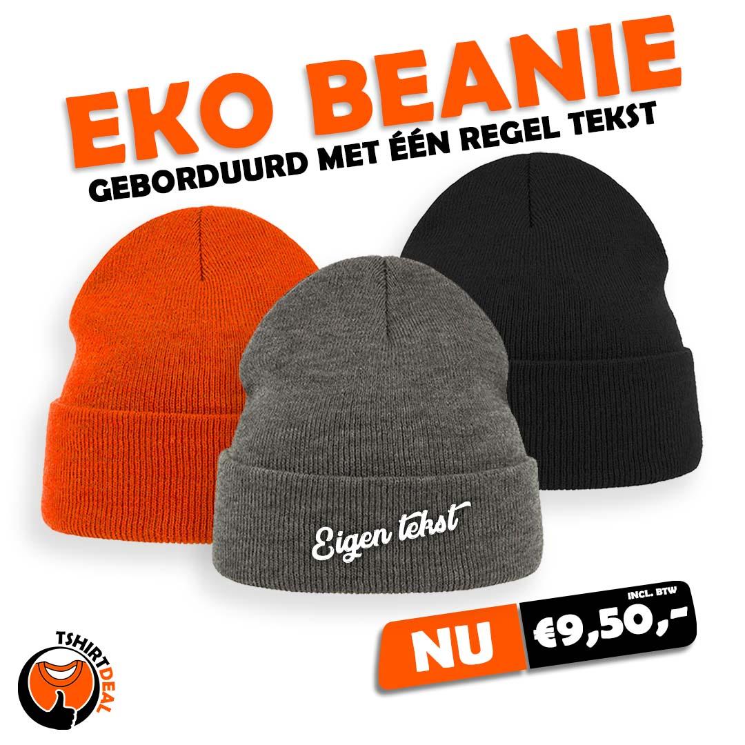 Eko beanie bedrukt €9,50