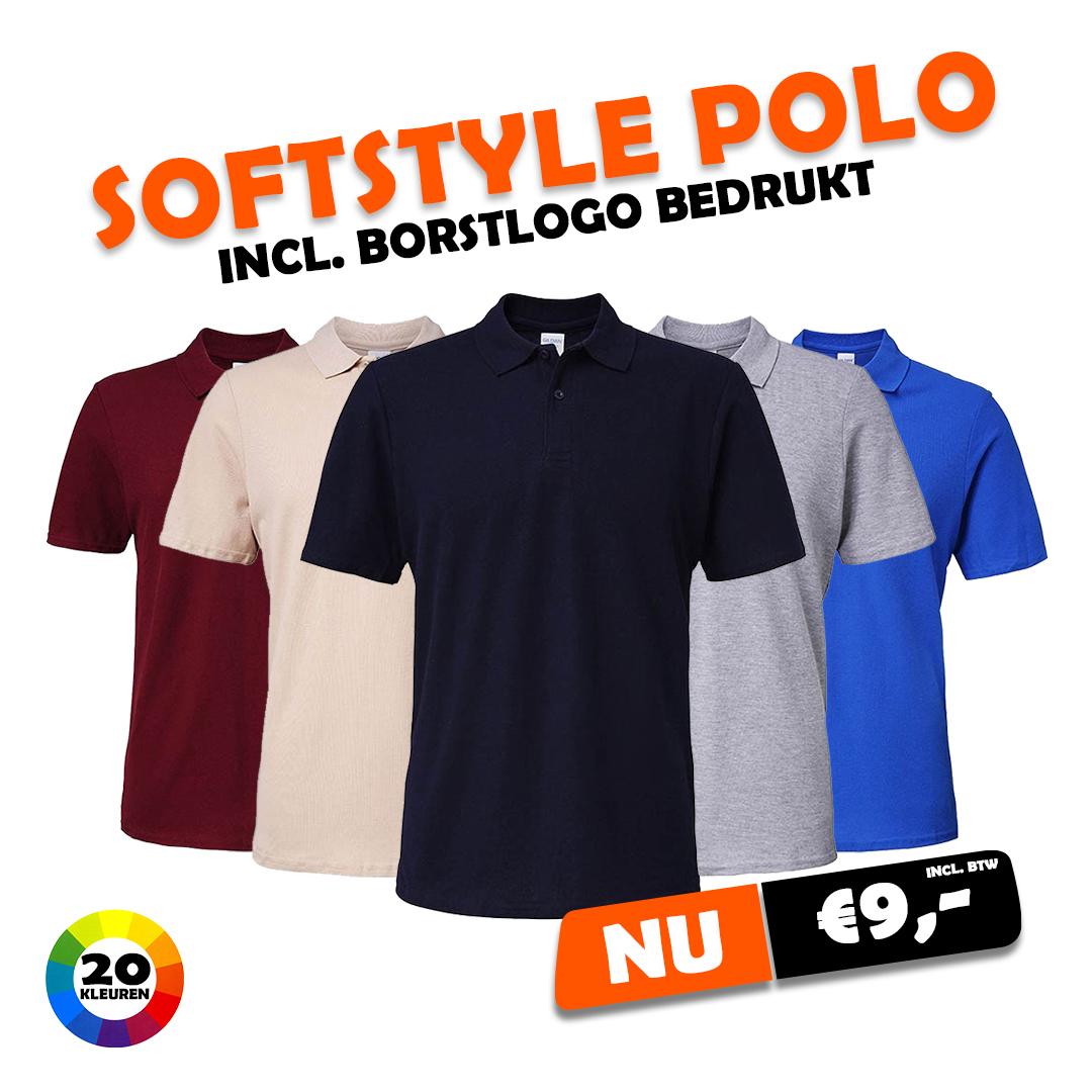 Heren Softstyle polo incl borstlogo €9,-
