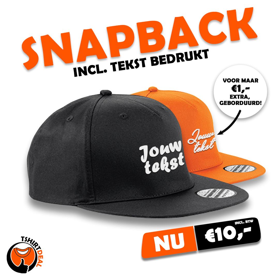 Snapback incl. tekst €10,-