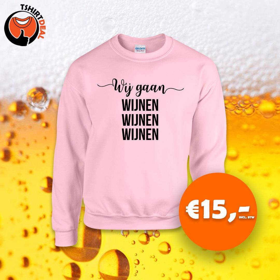 Licht roze sweater met opdruk 'wij gaan wijnen wijnen wijnen'