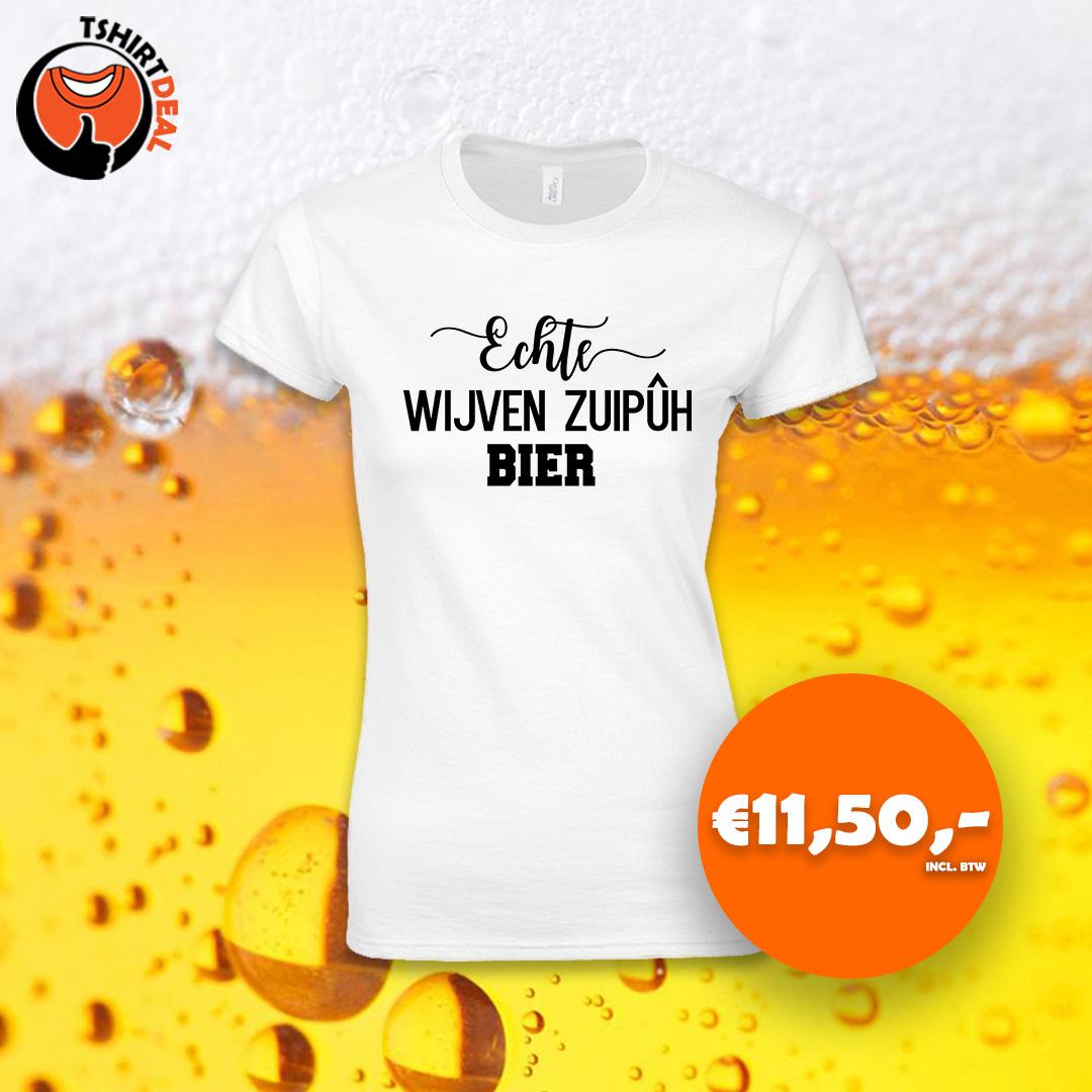 Wit dames shirt met opdruk 'Echte wijven zuipuh bier'