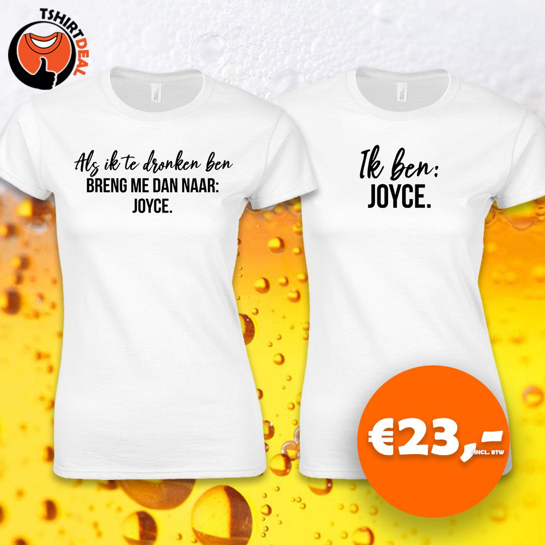 Duo witte dames shirts met opdruk 'Als ik te dronken ben'