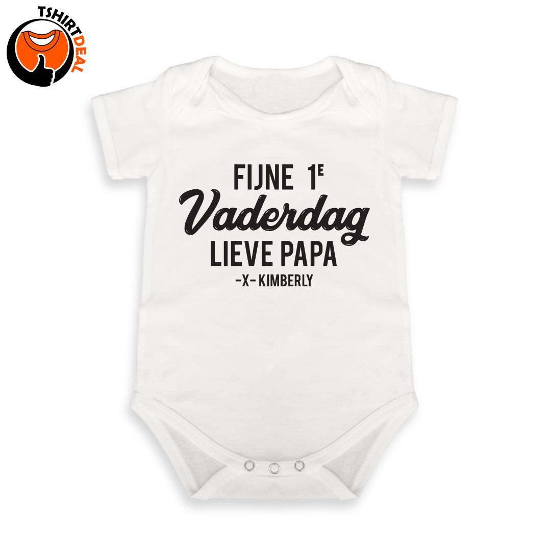 Babyromper 'Fijne eerste Vaderdag' incl. naam baby