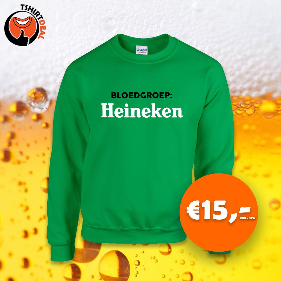 Groene sweater met opdruk 'bloedgroep: heineken'