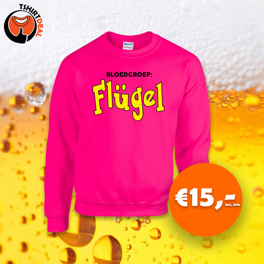 Neon roze sweater met opdruk 'Bloedgroep: Flugel'