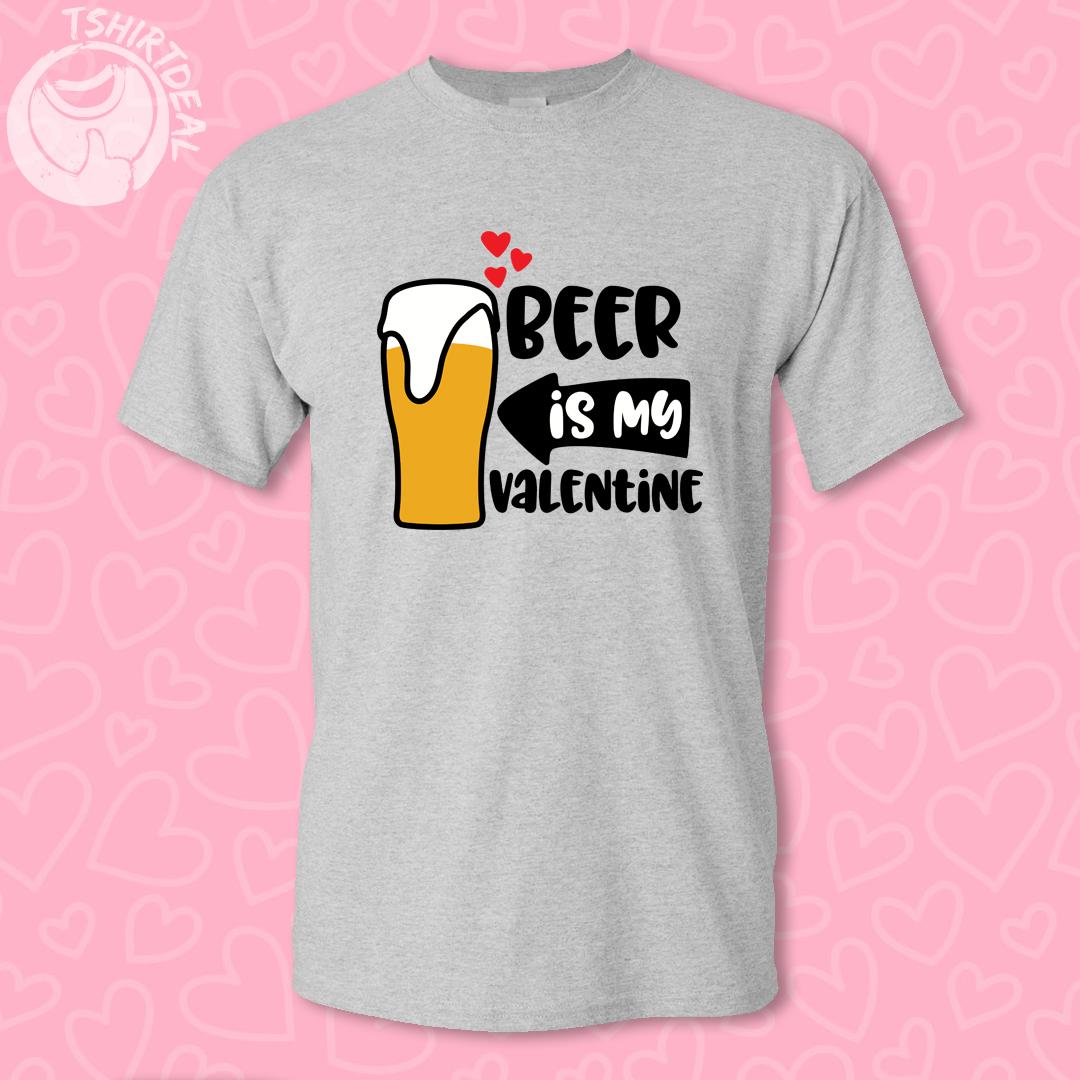 Grijs Tshirt met opdruk 'beer is my valentine'