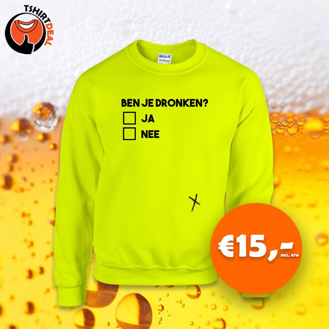 Neon sweater met opdruk 'ben je dronken'