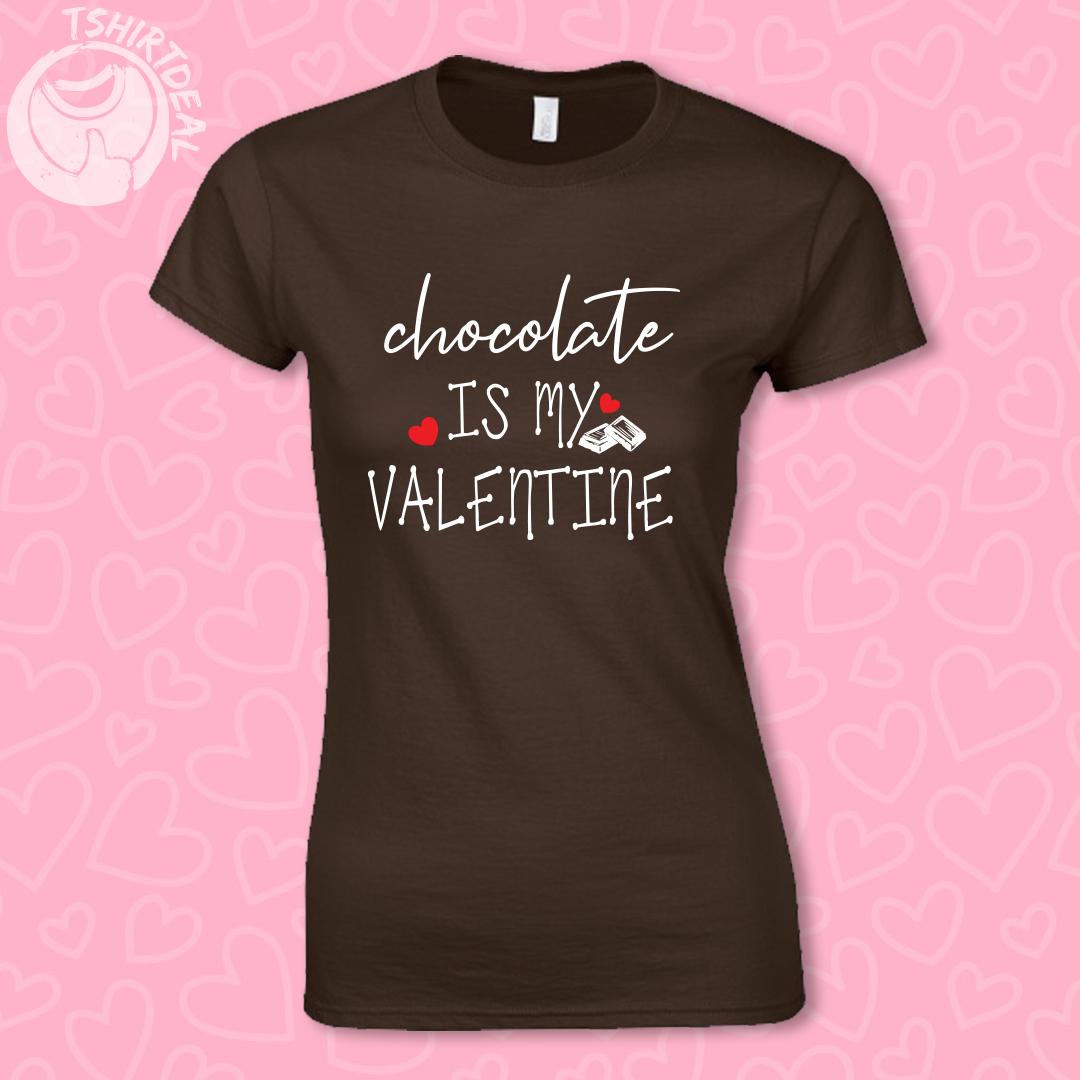 Zwart shirt met opdruk 'chocolate is my valentine'