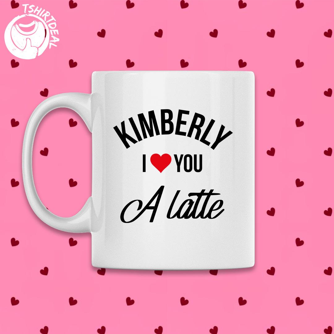 Witte mok met opdruk 'i love you a latte'
