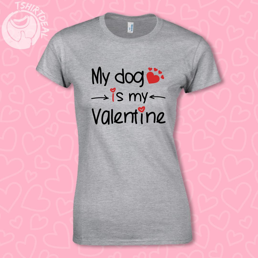 Grijs shirt met opdruk 'My Dog is my Valentine'