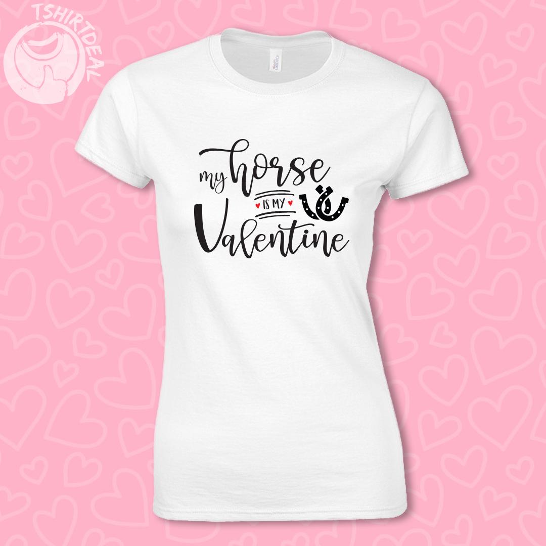Wit shirt met opdruk 'My horse is my valentine'