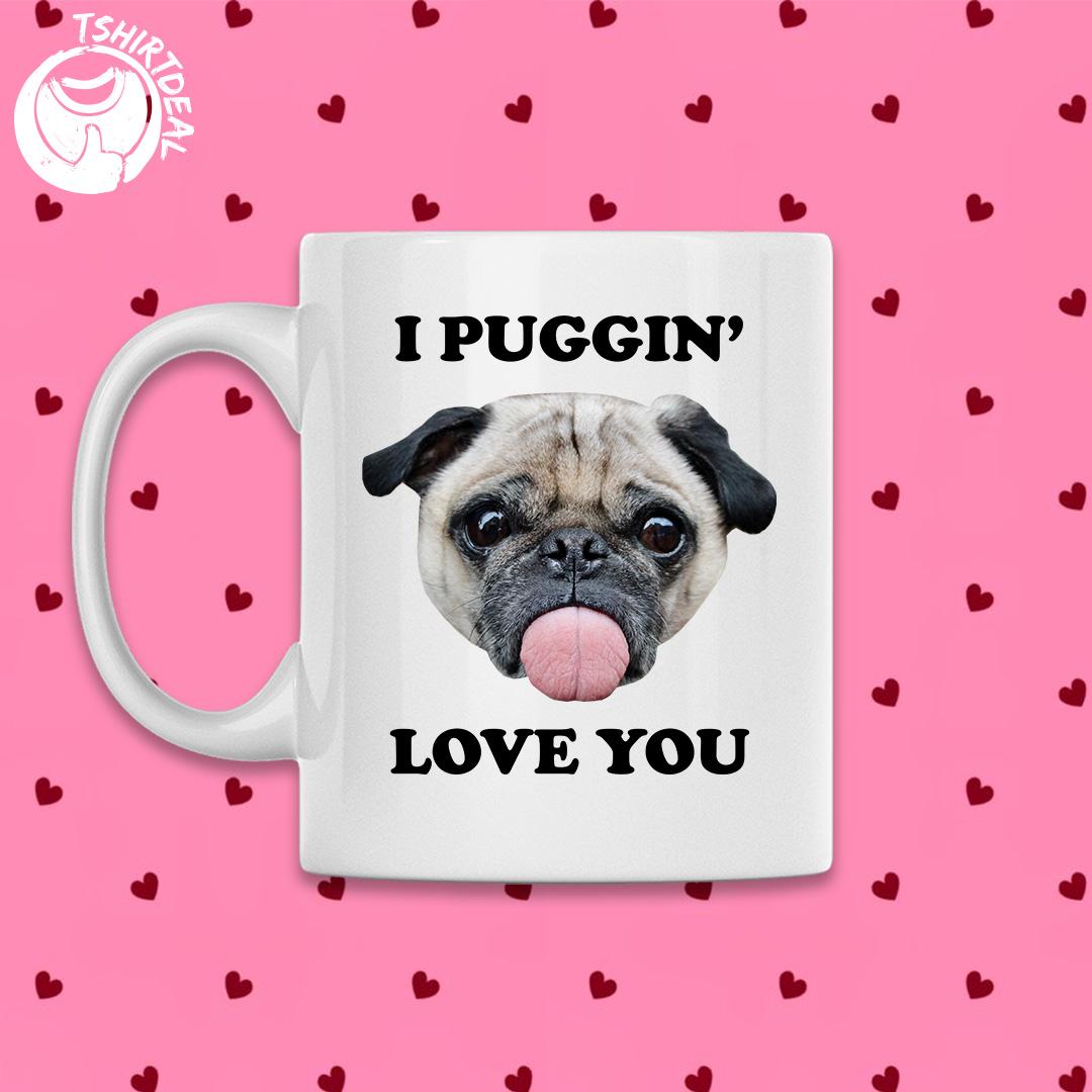 Witte mok met opdruk 'I puggin love you'