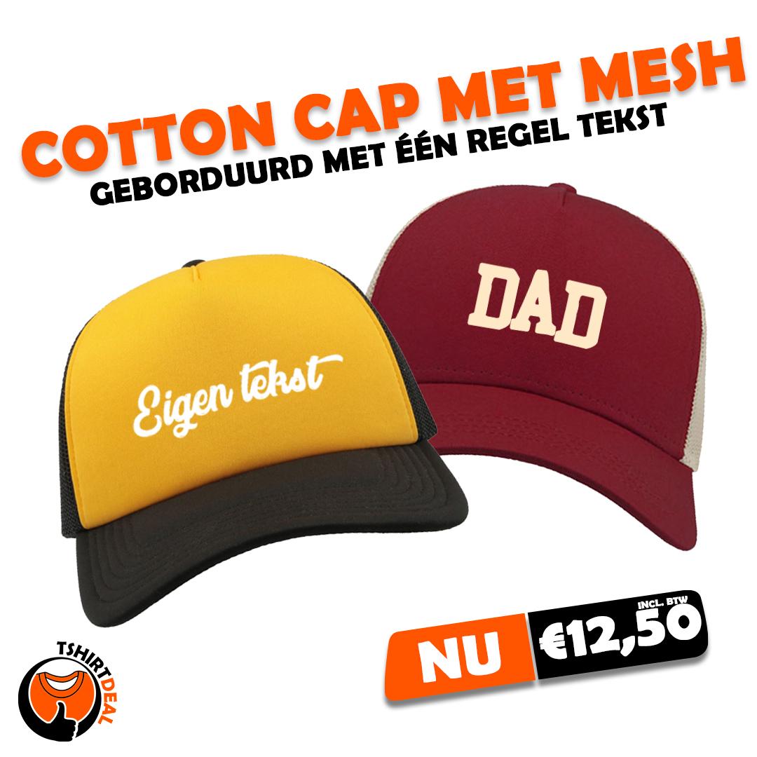 Cotton cap met mesh