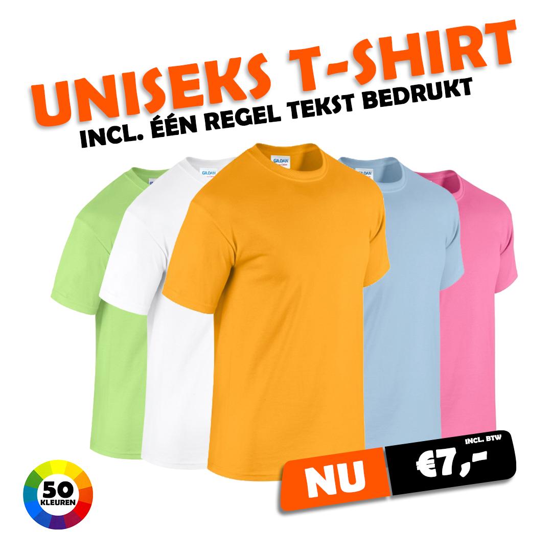 Uniseks T-shirt met eigen tekst €7,-