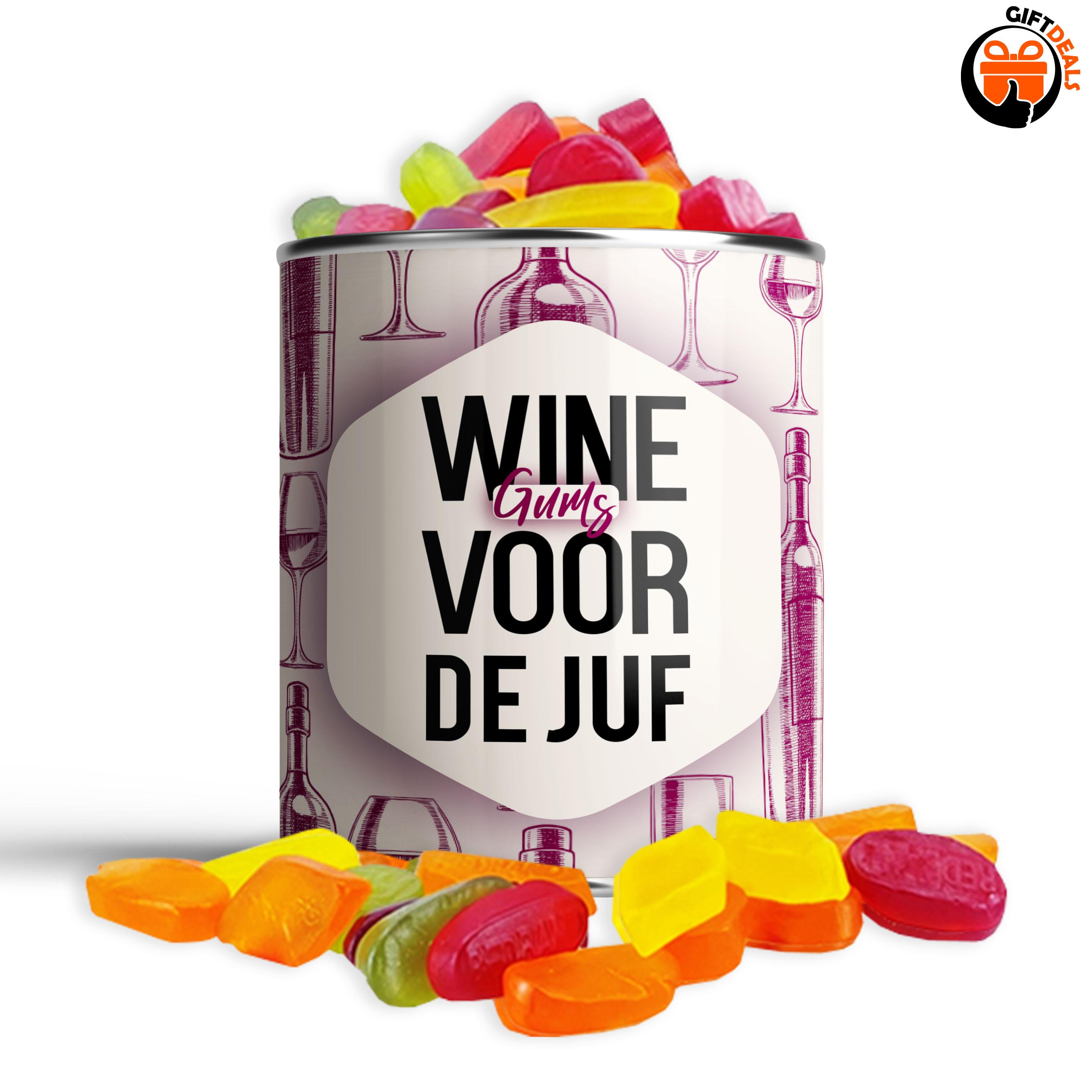 Snoepblik 'Wine (gums) voor de juf'